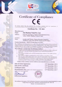 Certificate of Compliance - Sai Extrusion Technik